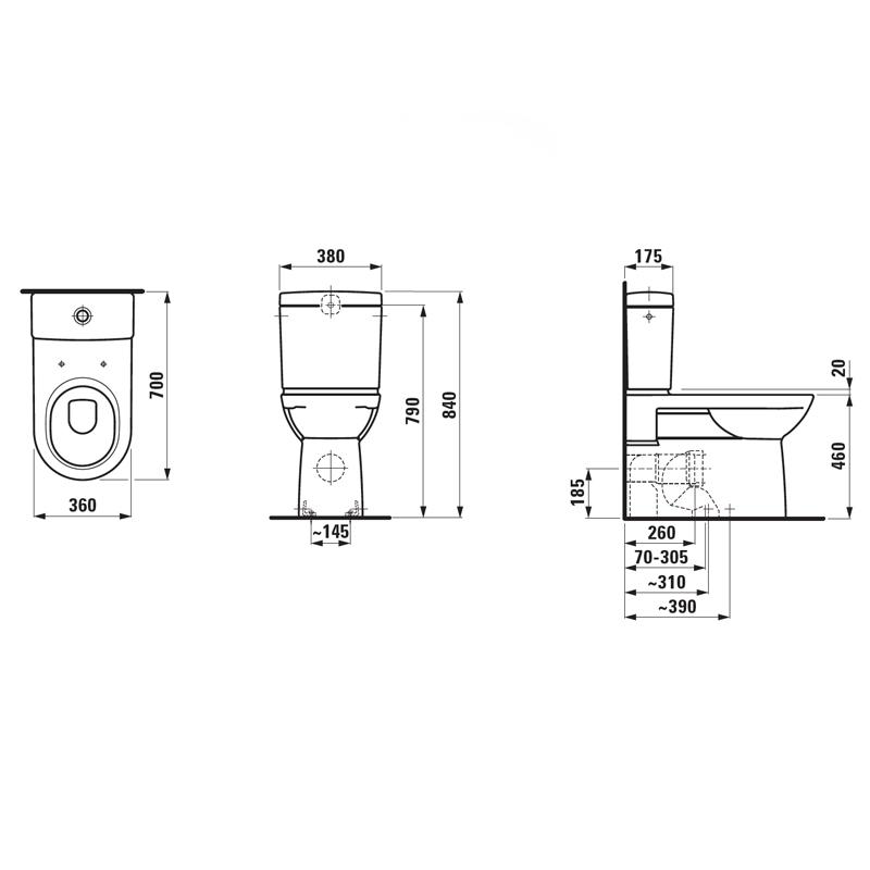 oft stand wc mit aufgesetztem sp lkasten sq62 kyushucon. Black Bedroom Furniture Sets. Home Design Ideas